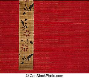 flor, bambú, bandera, en, fondo rojo