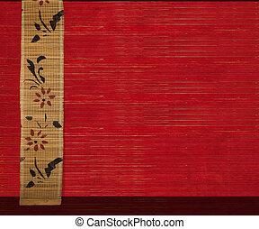 flor, bambú, bandera, en, rojo