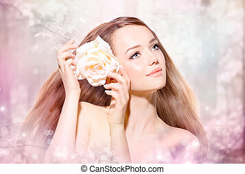flor, belleza, primavera, portrait., niña, modelo