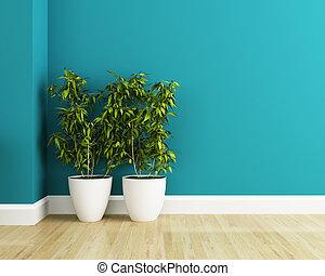 flor blanca, complot, y azul, pared, interior