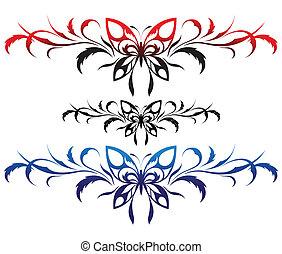 flor, borboletas, padrão