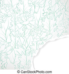 flor, campo, papel rasgado