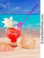 flor, caribe, cóctel, tropical, arena, playa blanca, rojo