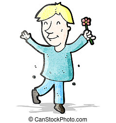 flor, caricatura, hombre