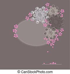 flor, cereja, cartão cumprimento