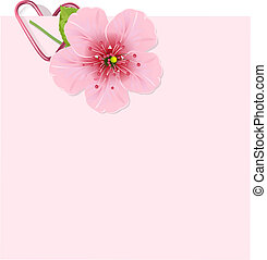 flor, cereja, letra