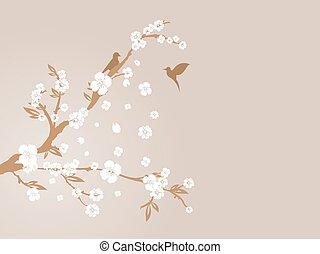 flor, cereja, silueta