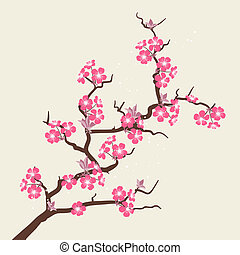 flor, cereza, flowers., estilizado, tarjeta