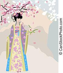 flor, cereza, nacional, disfraz, niña
