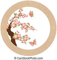 flor, cereza, papel pintado, oriental