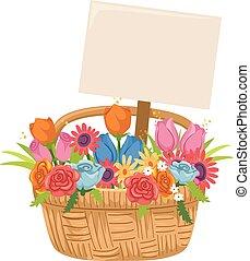 flor cesta, tábua, ilustração