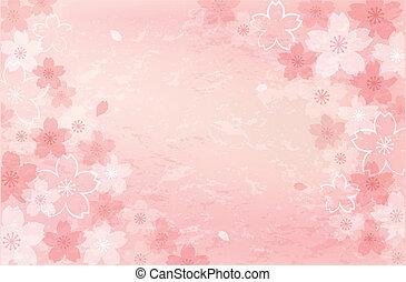 flor, chique, roto, fundo, cereja