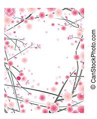 flor, ciruela, plano de fondo