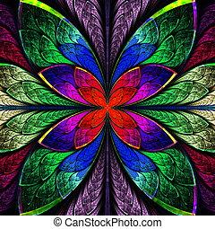 flor, co, cristal manchado, multicolor, simétrico, fractal, ...
