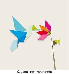 flor, colibrí, origami, blanco