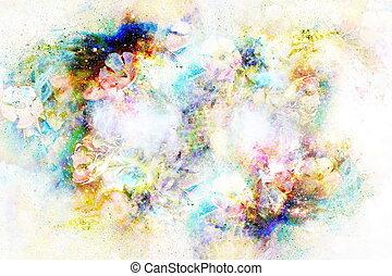 flor, collage, resumen, space., motivo, multicolor