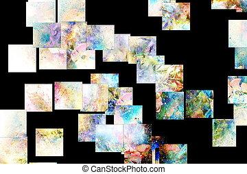 flor, collage, resumen, space., motivo, effect., multicolor, mosaico