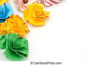 flor, colorido, aislado, pelota, plano de fondo, origami, ...