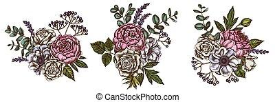 flor, colorido, anemone, viburnum, peony, eucalipto, rosas, buquet, lavanda