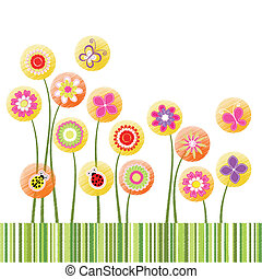 flor, colorido, Extracto, saludo, primavera, tarjeta