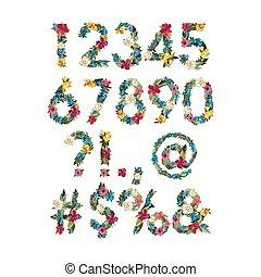 flor, colorido, números, vector, diseño, fuente, su
