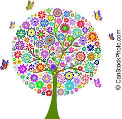 flor, coloridos, árvore, isolado, fundo, branca