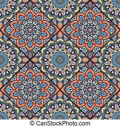 flor, coloridos, 1, boho, azulejo, quadrados