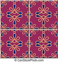 flor, coloridos, padrão, cerâmico, curva, crucifixos, pétalas, azulejo, redondo