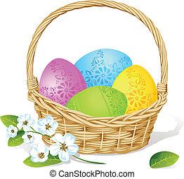 flor, coloridos, primavera, ovos, decoração, cesta, páscoa