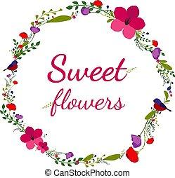 flor, coloridos, quadro, flowers., vetorial, bandeira, pássaro