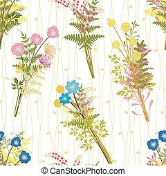flor, coloridos, springtime, fundo, grama selvagem