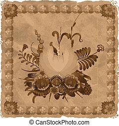 flor, composición, en, el, plano de fondo, de, el, viejo, paper., eps10