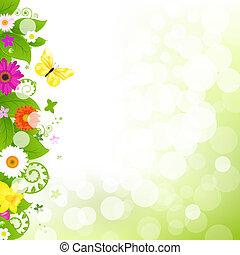 flor, con, pasto o césped, y, flores