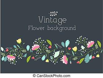 flor, concept., ilustração, vetorial, desenho, retro, fundo