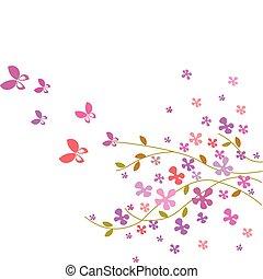 flor cor-de-rosa, -3, borboletas, cores, fundo