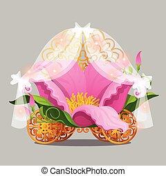 flor cor-de-rosa, illustration., ouro, fantasia, isolado, cama, cinzento, pétalas, carruagem, fabuloso, vetorial, experiência., rodas, princesa