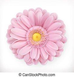 flor cor-de-rosa, primavera, vetorial, 3d, ícone