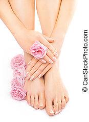 flor cor-de-rosa, relaxante, pedicure, rosa, manicure