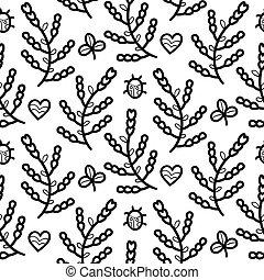 flor, corazón, patrón,  seamless,  vector, negro, mariquita,  floral, blanco, trébol
