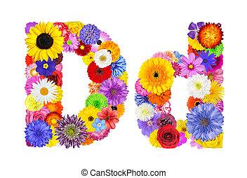 flor, d, alfabeto, -, isolado, letra, branca