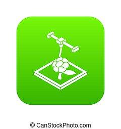 flor, d, impresión, icono, verde