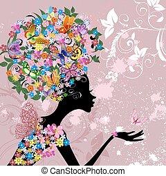 flor, dama, con, mariposas