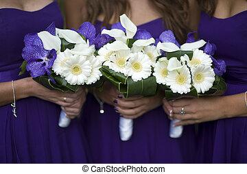 flor, damas de honor, ramos