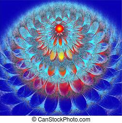 flor, dandelion, macio, ilustração, luminoso, fundo, fractal