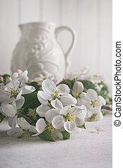 flor de apple, flores, con, jarra, en, plano de fondo