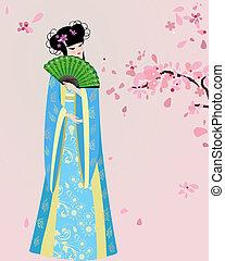 flor de cerezo, y, un, niña, en, nacional, disfraz
