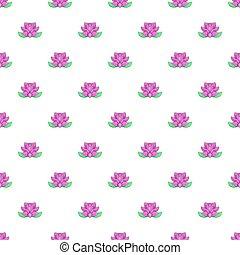 flor de loto, patrón, caricatura, estilo