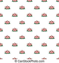 flor de loto, patrón, seamless