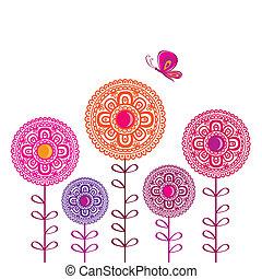 flor de primavera, con, butterflies.