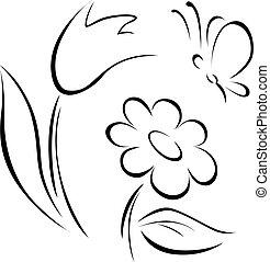 flor de primavera, contorno